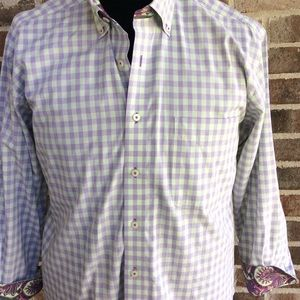 Alan Flusser Flip Cuff Paisley Check Dress Shirt